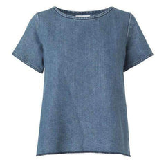 DENIM PLISSE BLAKE MADS NORGAARD TOP FRONT VIEW