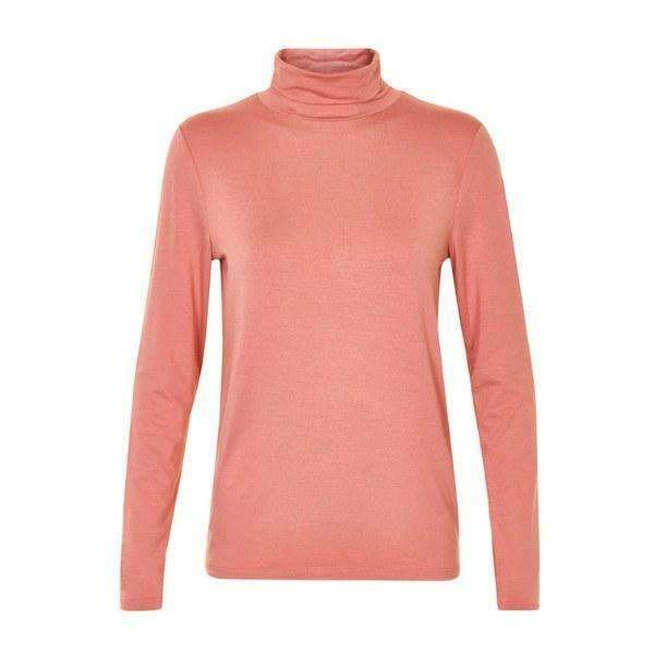 Elisse Soaked Turtleneck Front View Rose Pink