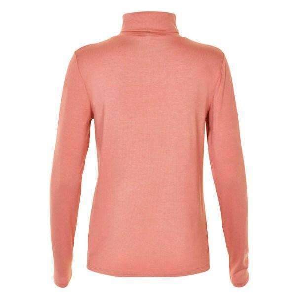 Elisse Soaked Turtleneck Back View Rose Pink