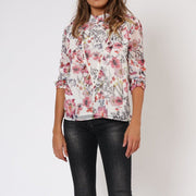 Ethereal Floral Long Sleeve Religion Blouse Front View