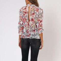 Ethereal Floral Long Sleeve Religion Blouse Back View