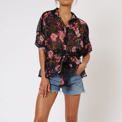 Gem Long Sleeve Floral Religion Shirt Front View