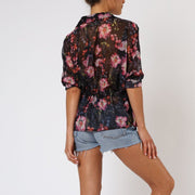 Gem Long Sleeve Floral Religion Shirt Back View