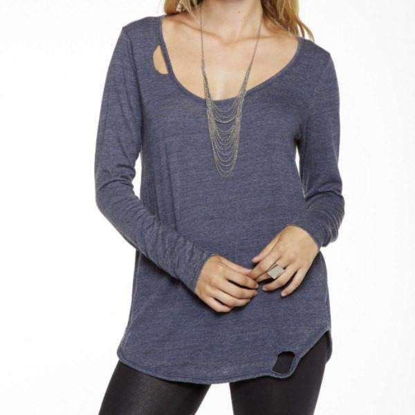Long Sleeve Round Neck Chaser Top Front View Blue