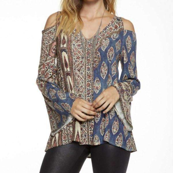 Multi Print Cold Shoulder Chaser Top Front View