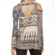 Multi Print Cold Shoulder Chaser Top Back View