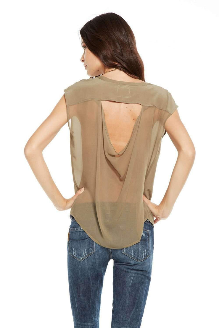 SILK BASIC SEMI-SHEER DRAPE BACK BOXY TEE CHASER TOP - TWENTY SIX Fashion