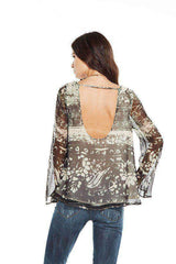 SILK BELL SLEEVE SCOOP BACK FLOUNCE TEE CHASER TOP - TWENTY SIX Fashion