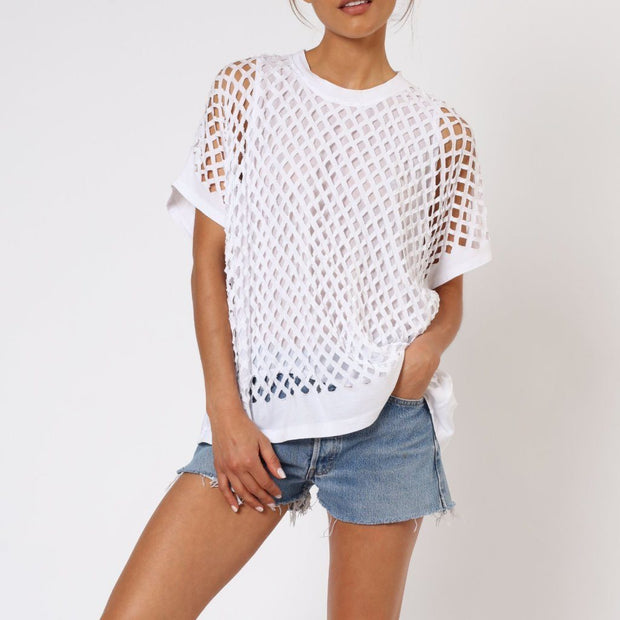 Splash Religion Oversized Top White Front View