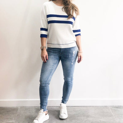 Blue Stripe Crew Neck XXVI London Jumper Front View