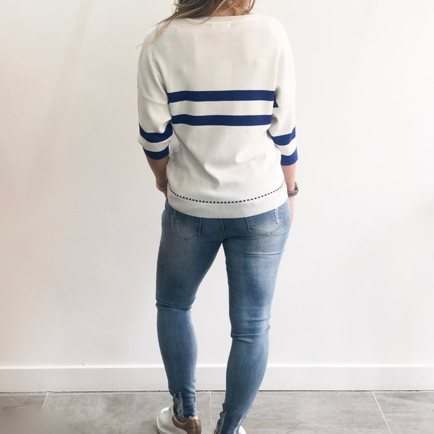 Blue Stripe Crew Neck XXVI London Jumper Back View