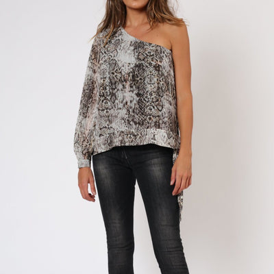 Lovely Snake Print One Shoulder Religion Top Front View