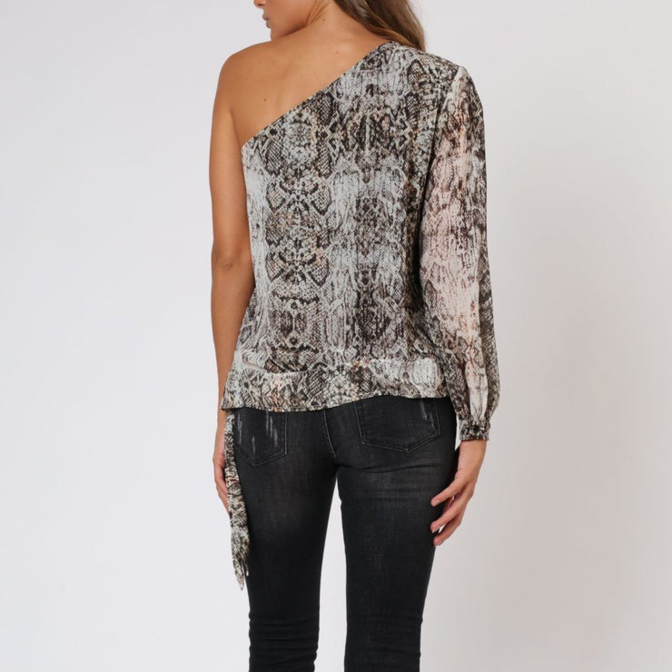 Lovely Snake Print One Shoulder Religion Top Back View