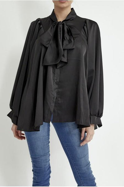 Women's Black Satin Pussy Bow Blouse
