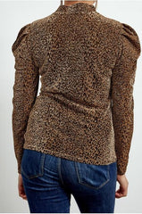 Women's Bronze Leopard Print Metallic Top