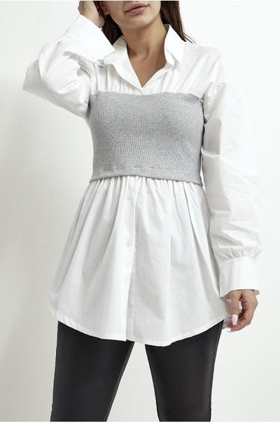Women's Jumper Shirt Two In One Grey