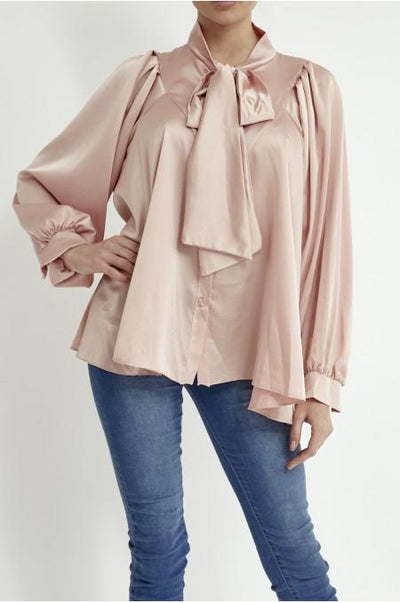 Women's Pink Satin Pussy Bow Blouse