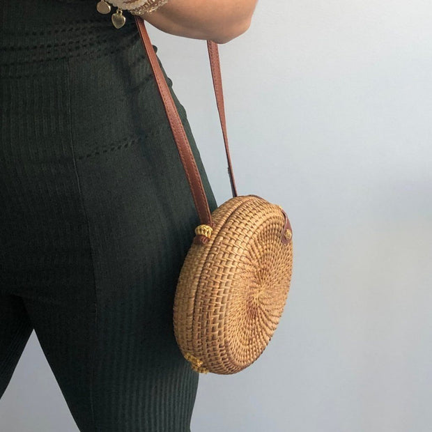 Wick Straw Disc Bag