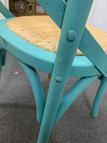 Oak Classic East Hampton cross back chair--Teal Color