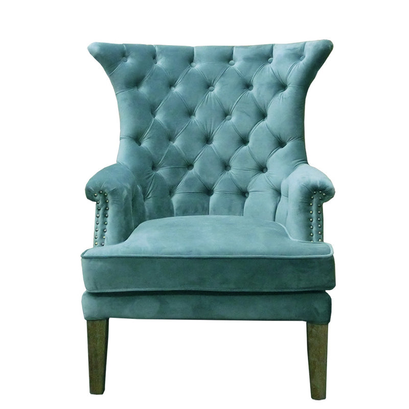 Tufted Washed Hemp Wing Back Arm Chair