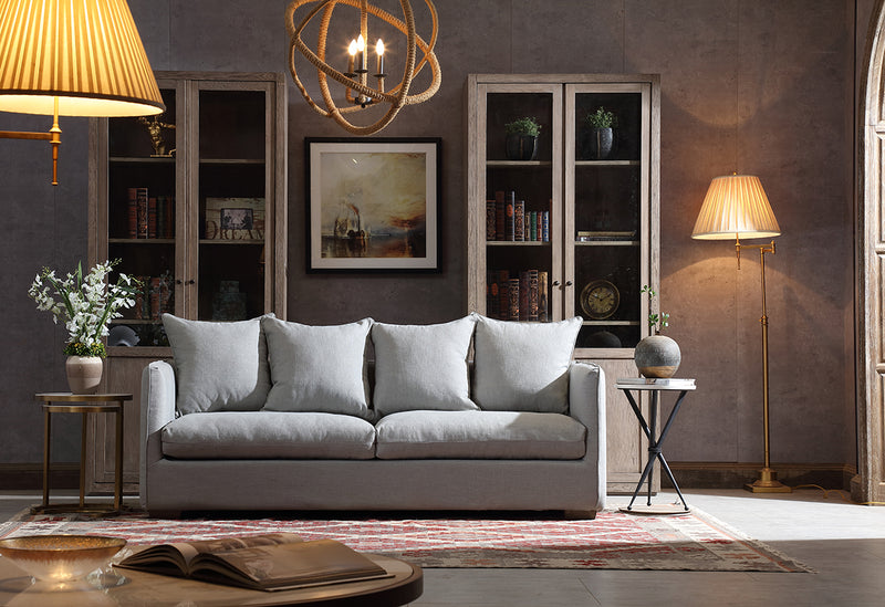 Modern Classic Light Grey Upholstered Sofa-- 3 seaters