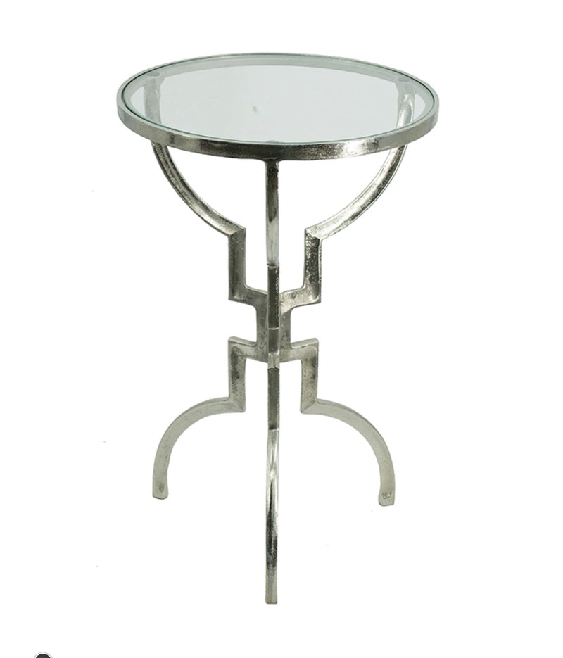 Glass top Accent Aluminium side table