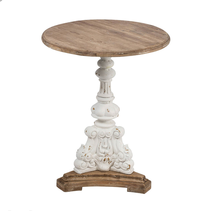 Round Antique White side table
