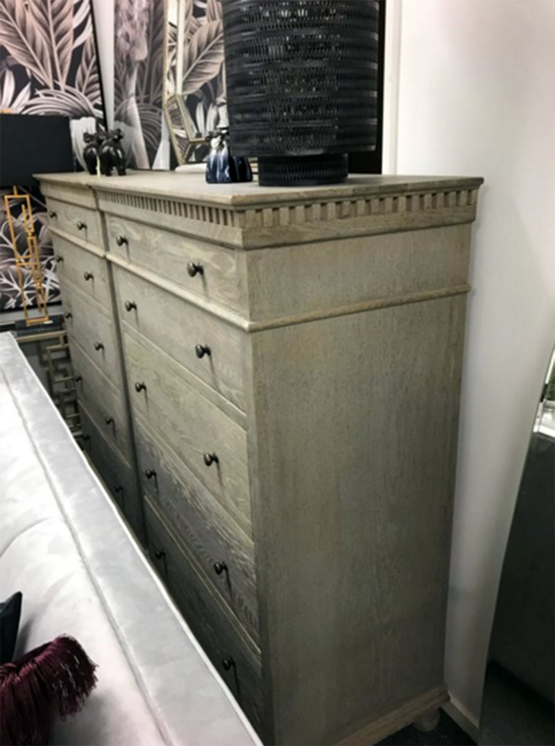 French Provincial Oak Natural 5 Drawer Tallboy
