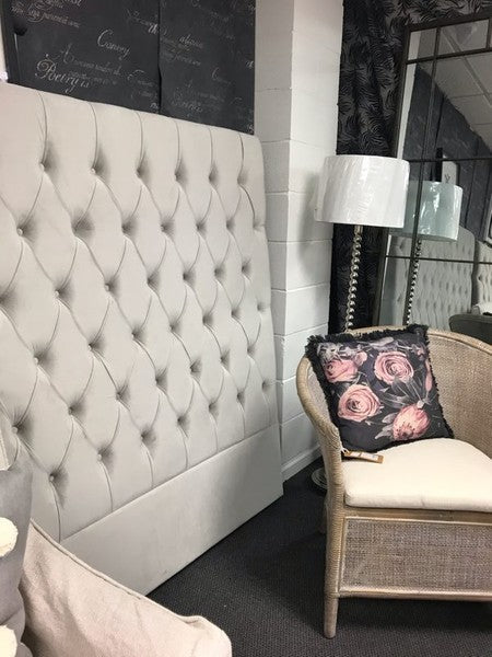 Buttoned California King 150H Stone Grey velvet Headboard