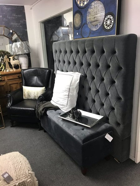 Buttoned King 1500mm High New Handprint-free charcoal velvet Headboard