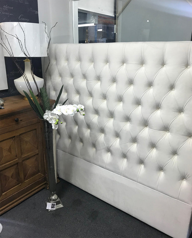 French Country Pearl White Velvet Button Headboard  Queen
