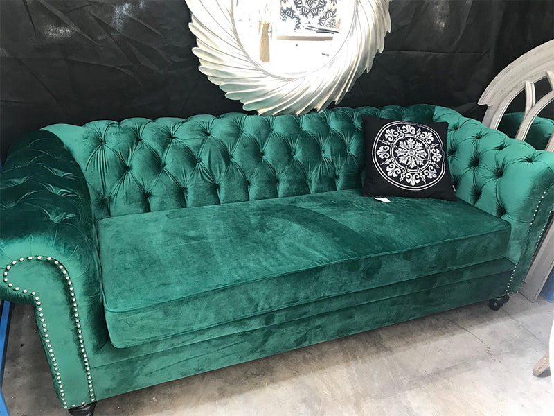 Chesterfield 3 seater Green velvet