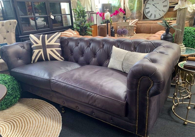 Full Grain Leather Chesterfield 3 seater in Black