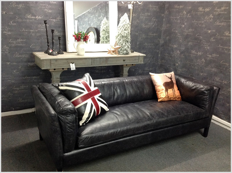 Full Grain Leather  3 seater in Black Color
