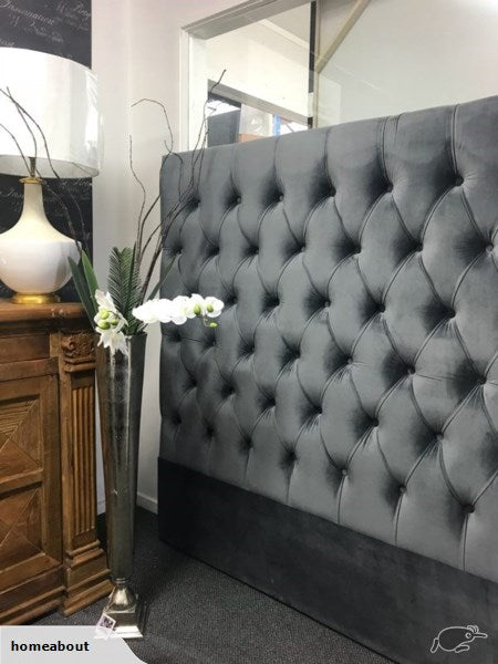 Buttoned California King 150cmHighX203 W Charcoal velvet Headboard