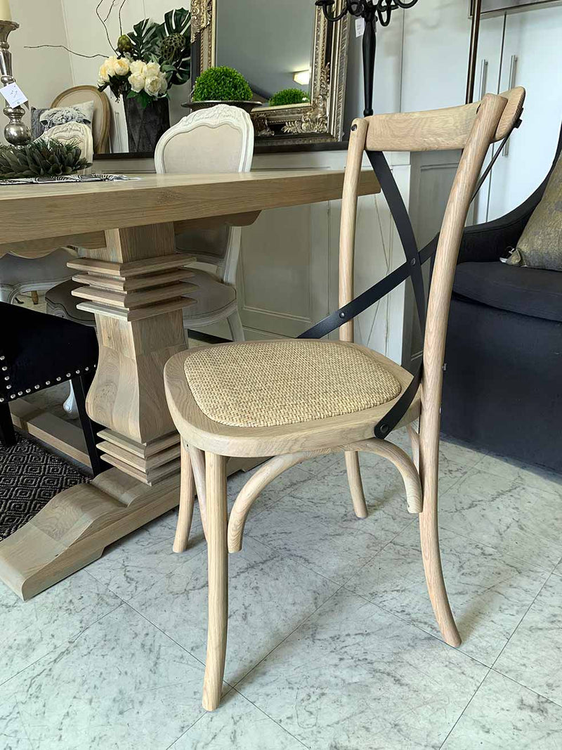 Cross Back Oak Dining Chair in Oak Bleach Color