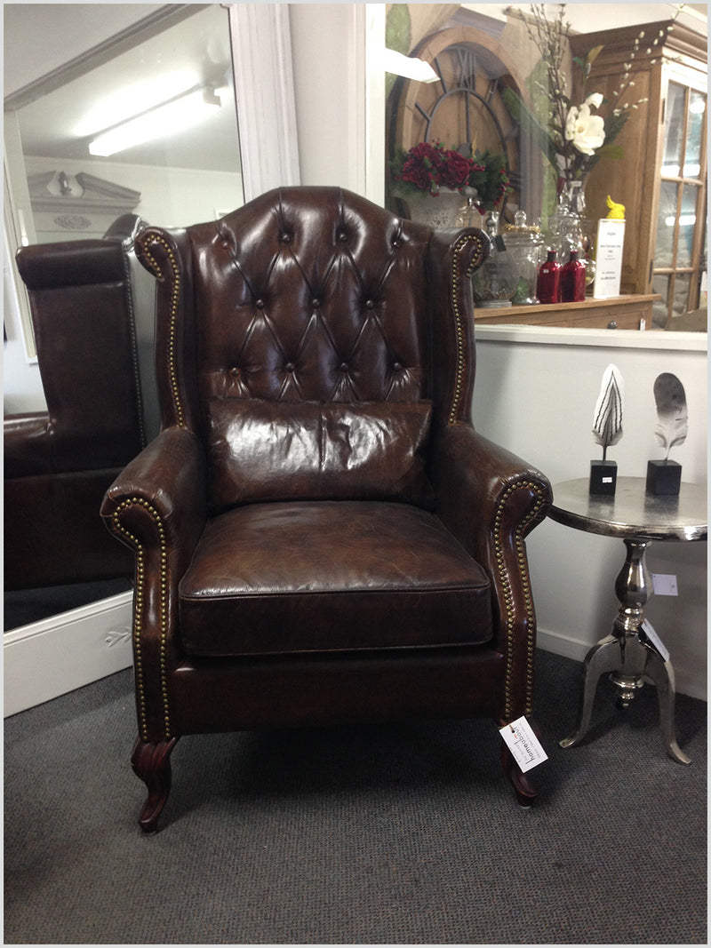 Full Grain Leather Wingback Chair