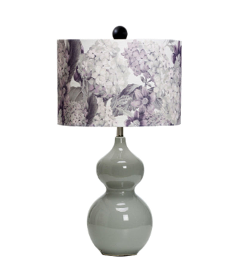 Baxter Stoneware Table Lamp w/ Printed Linen Shade, Grey