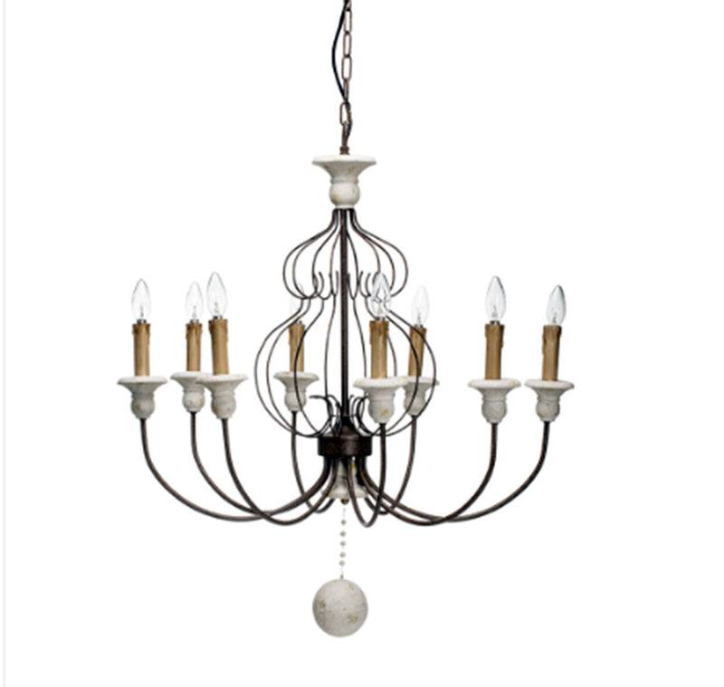 Metal & Resin Chandelier w/ 8 Lights, Rubbed Black Finish
