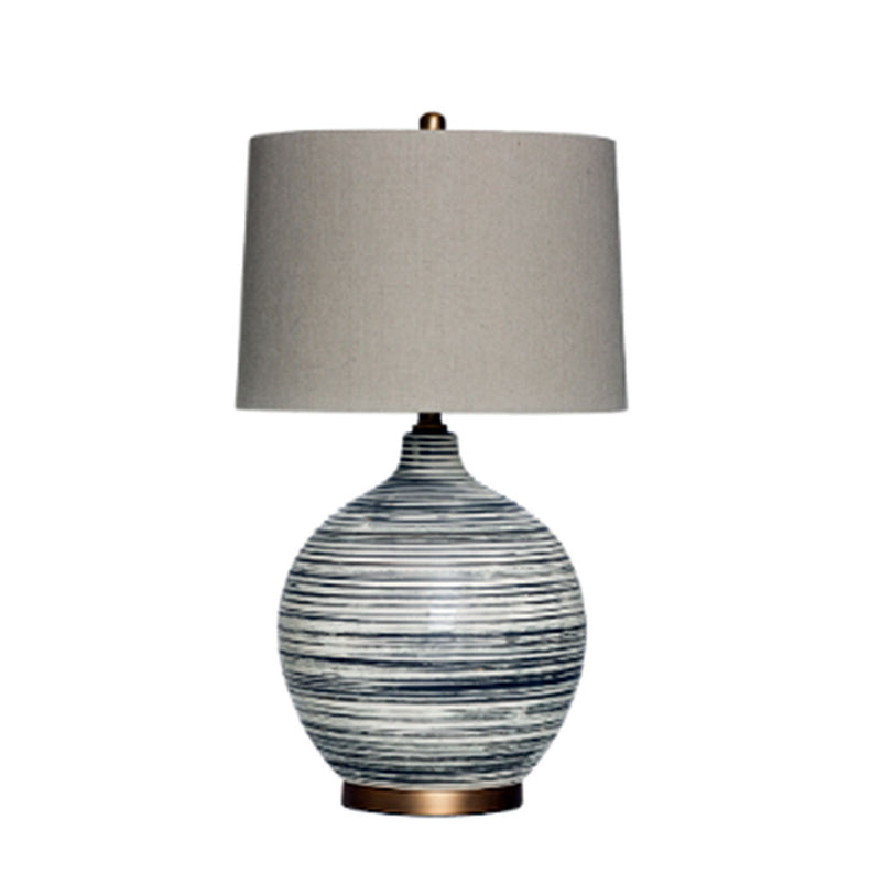 Hand Carved Texture Stoneware Table Lamp w/ Metal Base & Linen Shade
