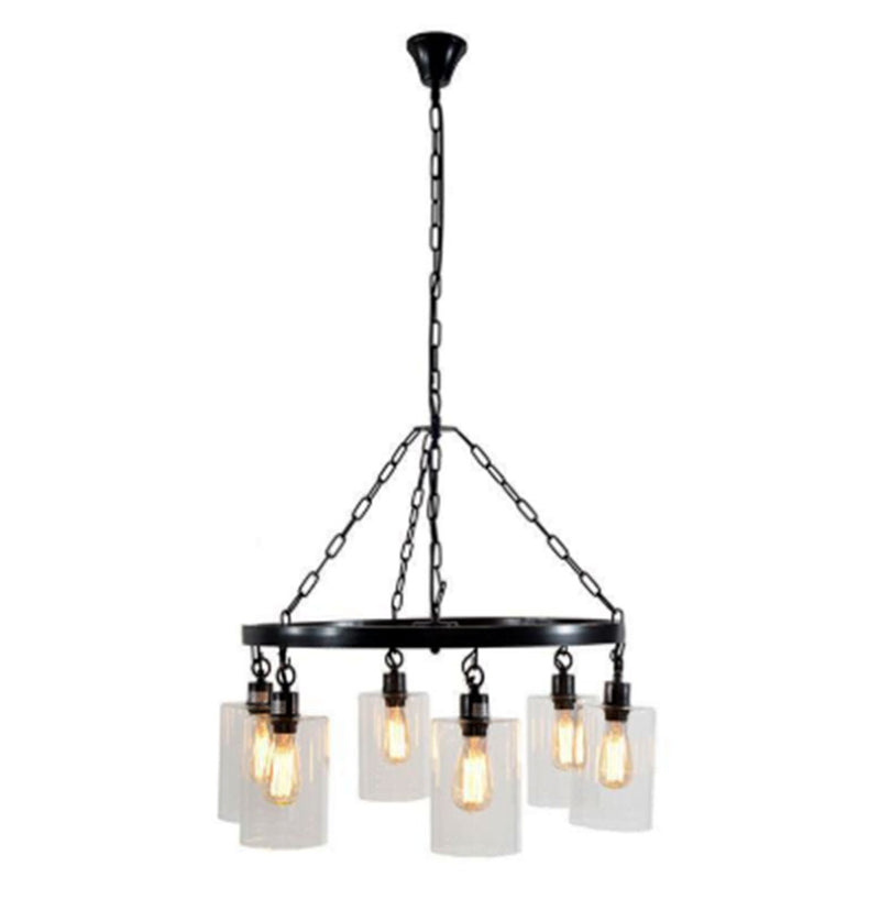 Modern Iron Chandelier w/ Glass Shades