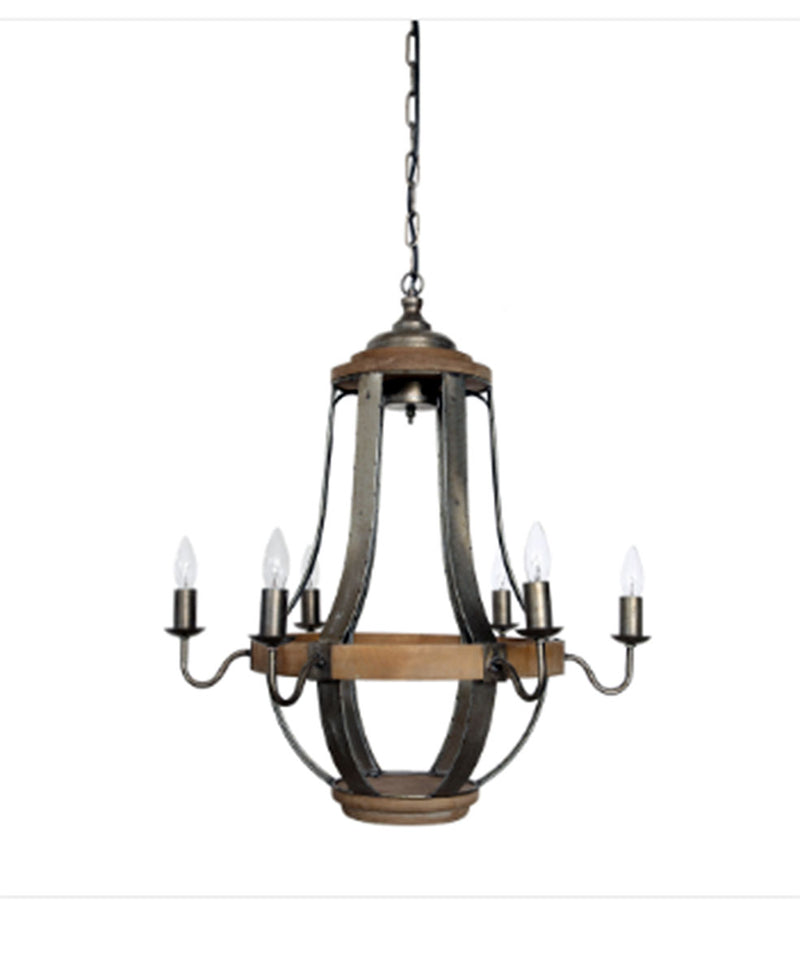 Wood & Metal Chandelier w/ 6 Lights