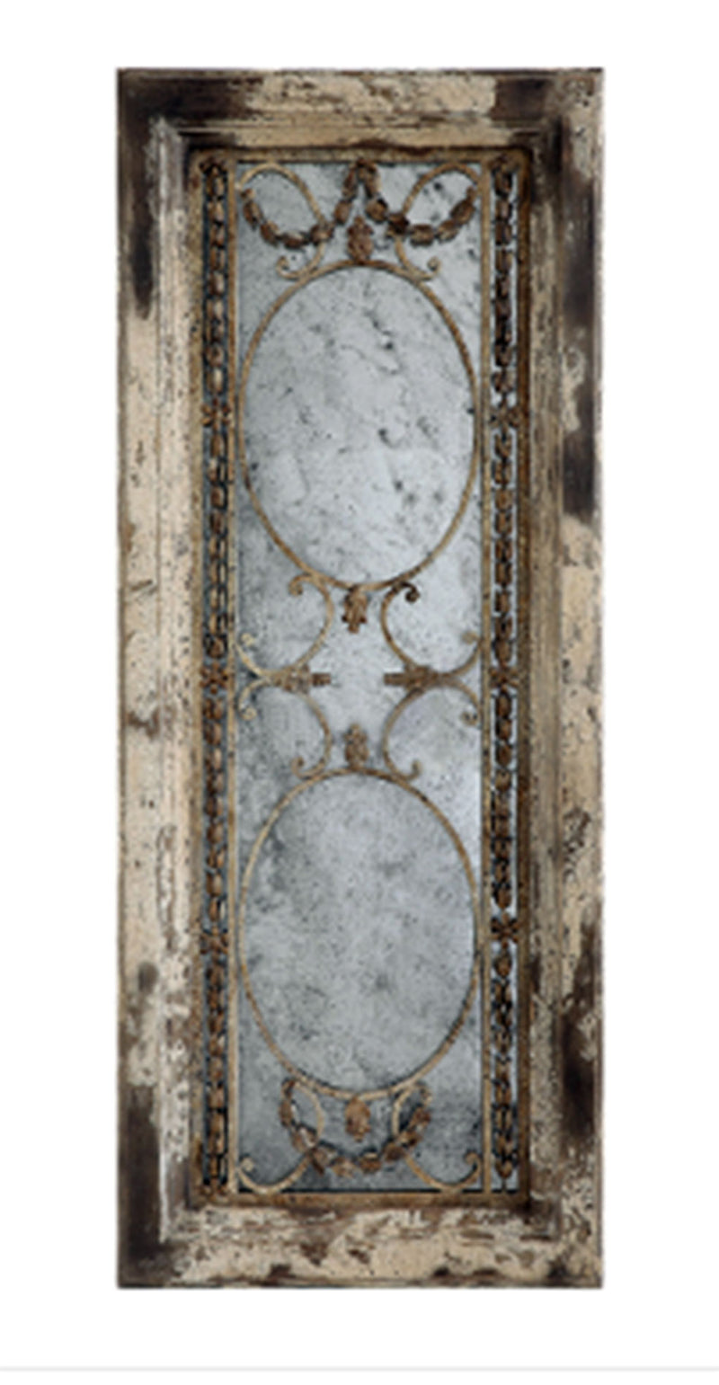 Wood Framed Antiqued Mirror w/ Metal Accents, Heavily Distressed Finish