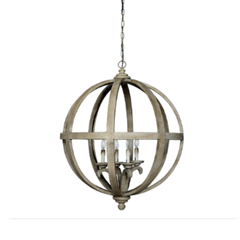 Wood & Metal Sphere Chandelier w/ 4 Lights