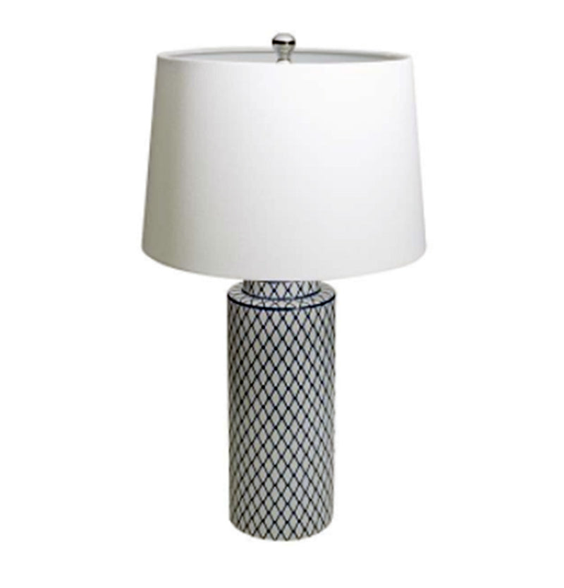 Stoneware Table Lamp with Linen Shade, Indigo & White