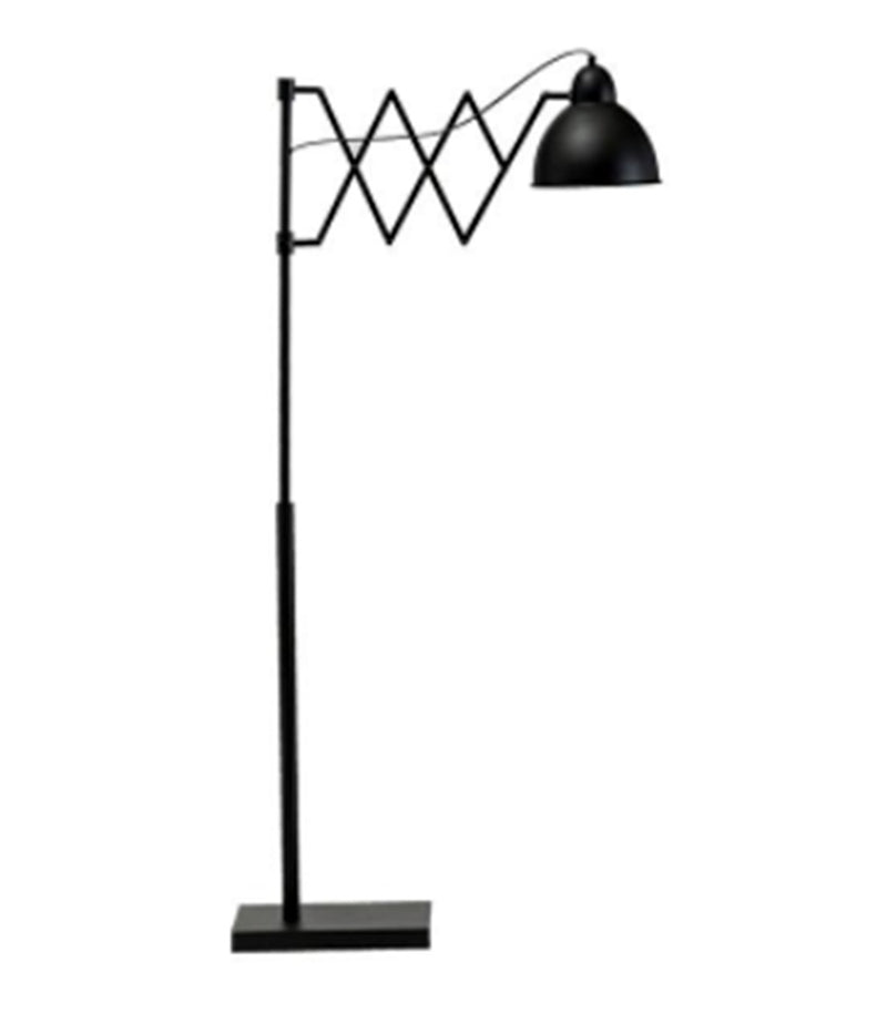 Metal Accordion Floor Lamp with Metal Shade, Black