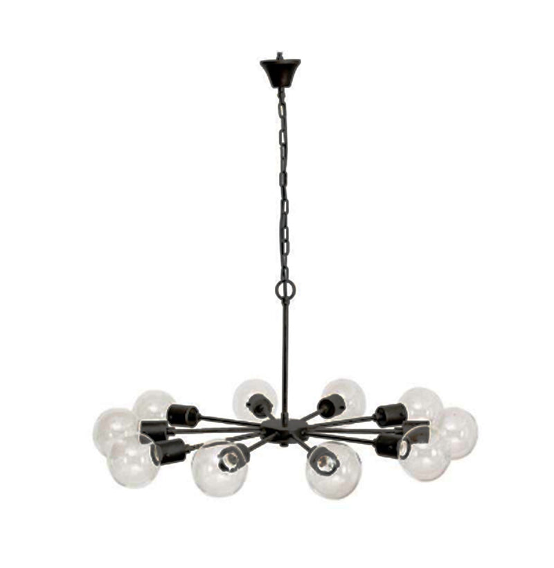 Metal Pendant Lamp w/ 10 Lights & Glass Bulbs, Antique Black