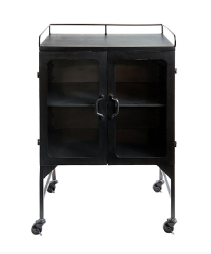 Metal & Glass Cabinet w/ 1 Shelf on Casters