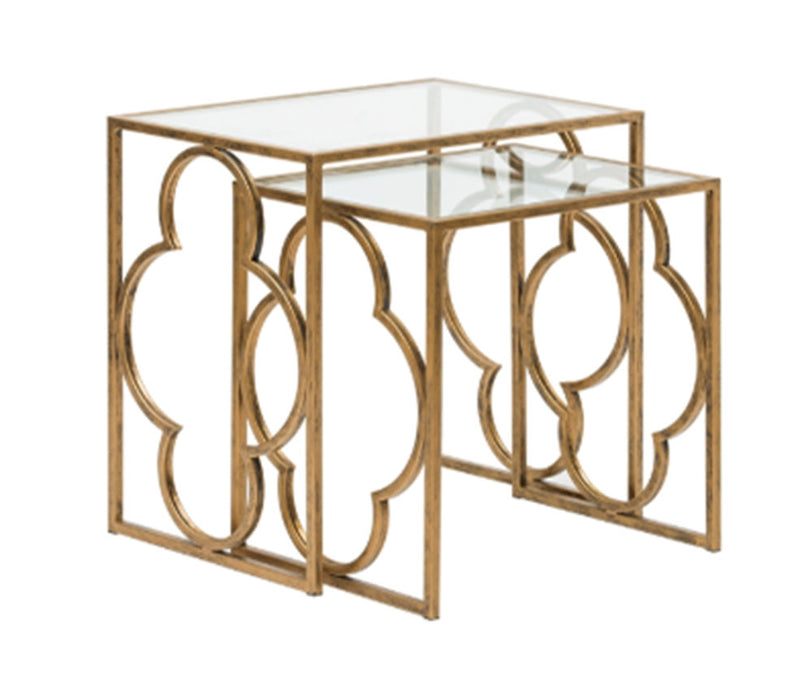 Sofia Metal & Glass Side Table, Antique Gold, Set of 2