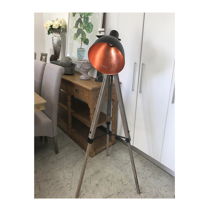 Jackson Industrial Loft Wood Floor Lamp